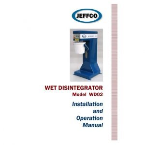 jeffco wd02 wet disintegrator manual